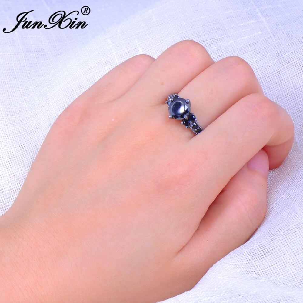 JUNXIN Big Round Black Zircon Rings For Female Male Black Gold ...