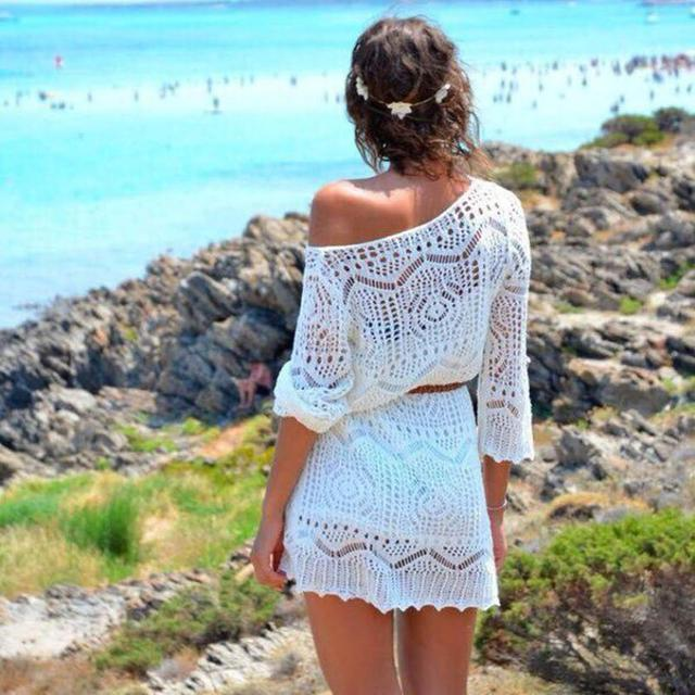 75061cee30 2019 Sexy Women Beach Cover Up Crochet Hollow Out White Lace Dress Beach  Party Dresses With Belt tunique robe de plage Outwear