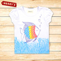 Fashion 2016 Baby Girls Fish Pattern T Shirt Kids Short Sleeve T-shirt Children summer top tees kids wear Girls Clothes ST-503
