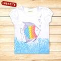 Fashion 2016 Baby Girls Fish Pattern T Shirt Kids Short Sleeve T-shirt Children summer top tees kids wear Girls Clothes ST-503