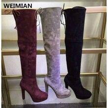 WEIMIANผู้หญิงยืดF Aux S Uedeบางต้นขารองเท้าสูงหรูหราออกแบบแบรนด์แฟชั่นเซ็กซี่กว่าเข่าบู๊ทส์รองเท้าส้นสูงผู้หญิง