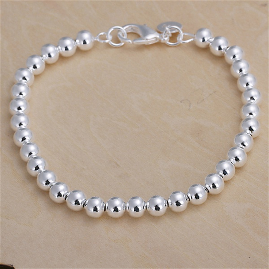 6MM Exquisite Beads Silver Color Bracelets Listings Ing Silver Jewelry Christmas Gifts