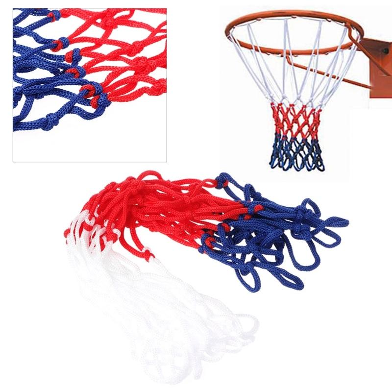 Универсальная сетка для баскетбола 5 мм, красная, белая, синяя, нейлоновая обруч, ободковая сетка