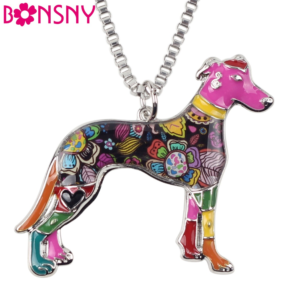 Bonsny Maxi Statement Metal Alloy Galgos Greyhound Dog Smycken Choker Emalj Halsband Chain Collar Pendant Mode För Kvinnor