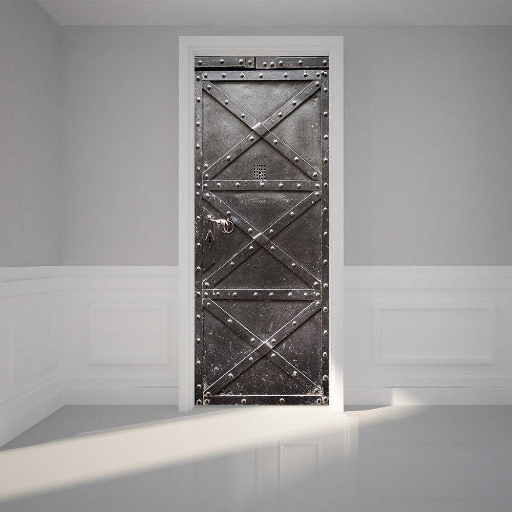 3D Door Sticker DIY Home Decor Art Mural Vinyl Wallpaper Decals Self Adhesive Iron Gate Design Wall Sticker for Door Decoration