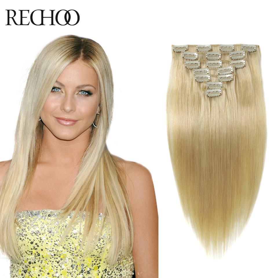 Aliexpress Buy Full Head Clip In Hair Extensions Blonde 613