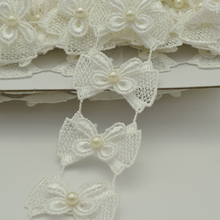 14yards White Pearl Lace Ribbon Bow Sewing Trim Applique Sew On Patch 4cm width