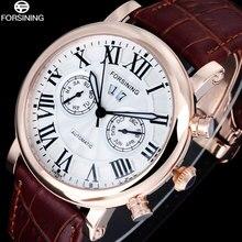 FORSINING Marque De Mode Hommes Montres Casual Chiffres Romains Affichage Mécanique Automatique montres Brun Bande Rose Caisse D'or Horloge