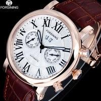 FORSINING Moda Casual Hombres Reloj de Pulsera Mecánico Automático de Los Hombres Relojes Calendario Completo Estilo de Roma Dial Banda de Cuero Reloj