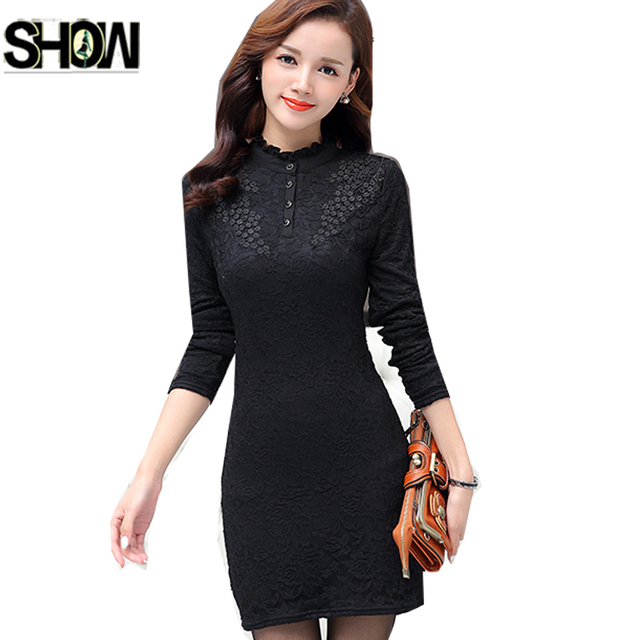 2bc29cae29fb Autumn Winter Dresses Basic Wear Women Lace Up Mini Bodycon Hollow Out Lace  Lady Work Office