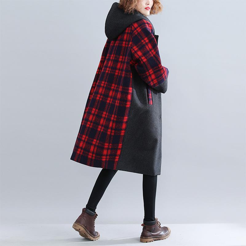 2018 zima długi płaszcz moda pojedyncze łuszcz szeroki zwężone z kapturem spersonalizowane dopasowanie kolorów kieszeń chusta kobiety płaszcz USWMIE w Trencze od Odzież damska na  Grupa 3