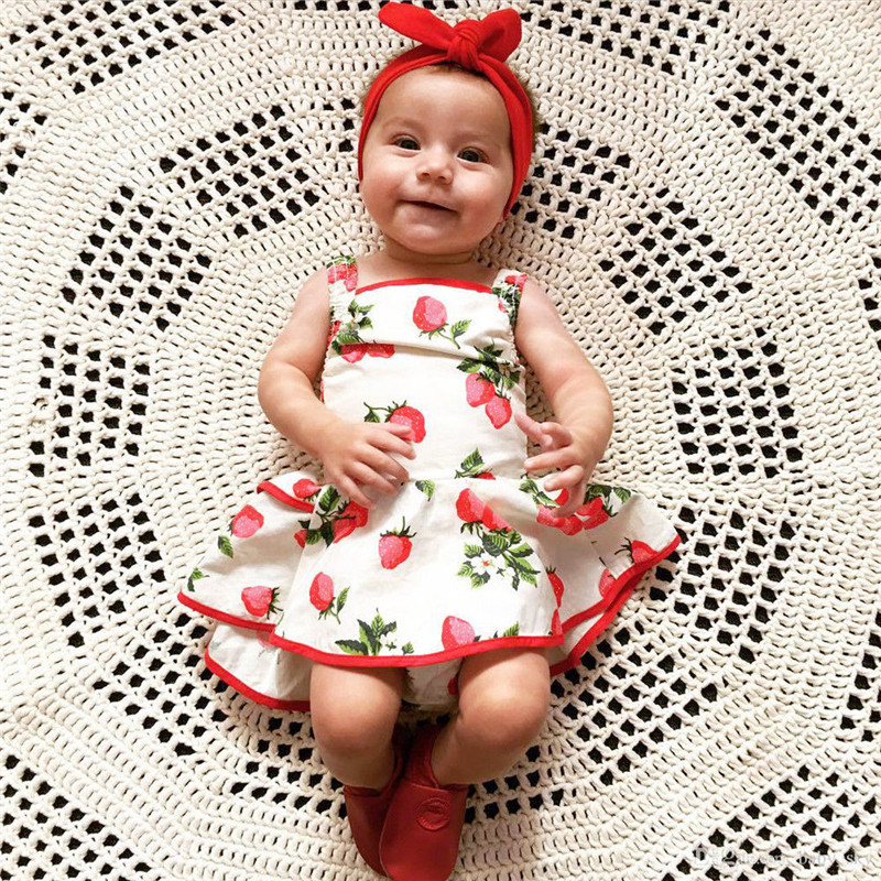b92b60a8a71 Baby Girls Kids Strawberry Princess Romper Dress Lovely Summer Printing  Casual Dress Outfit Clothes For 0-2Y Girls