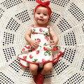 Crianças Meninas Morango Princesa Romper do bebê Lindo Vestido de Verão Impressão Casual Vestido Roupa Para 0-2Y Meninas