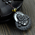 Natural Obsidian necklace Fashion Black laughing Buddha pendant For women &men Vintage jade jewelry ornaments
