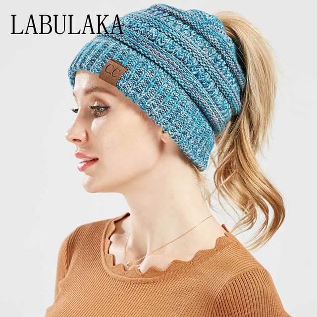 bed3e2de535 Winter CC Ponytail Beanie Hats for Women Messy Bun Woolen Hat Knitted  Skullies Beanies Soft Caps Casual Mix Color Warm Knit Cap