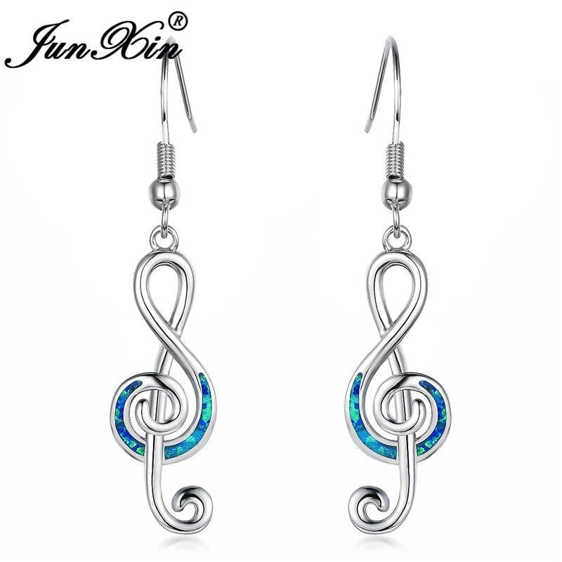 JUNXIN Female Music Note Long Drop Earrings For Women Silver Color Blue White Fire Opal Wave Earrings Wedding Gift