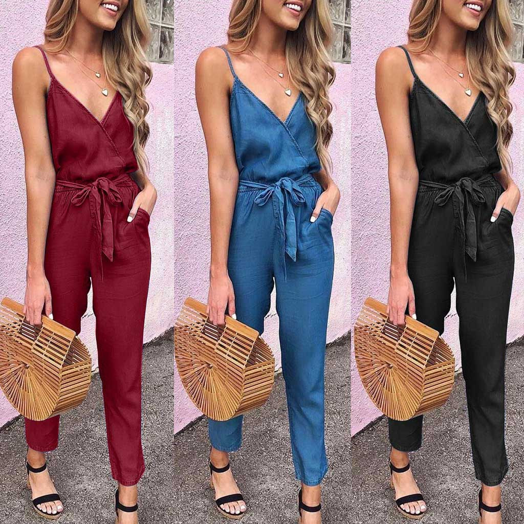 Jumpsuit BodysuitSummer Spaghetti Strap Wrap Top Tie Waist Casual Jumpsuit боди для женщин Purchasing 2019 Hot Fashion Hot Sale