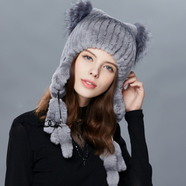 e781f0ff Valpeak 2018 Women Winter Fur Hat Warm Rabbit Fur Hats With Earflaps Fox Fur  Cat Ear