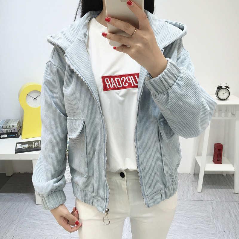 Women Hooded Corduroy Jacket 2019 Spring Fashion Long Sleeve Casual Jacket Coat Women Basic Loose Short Jacket Female Outerwear 83