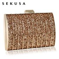 SEKUSA Fashion Elegant Sequined Women Clutch Evening Bag Chain Shoulder Handbags Hollow Out For Girl S