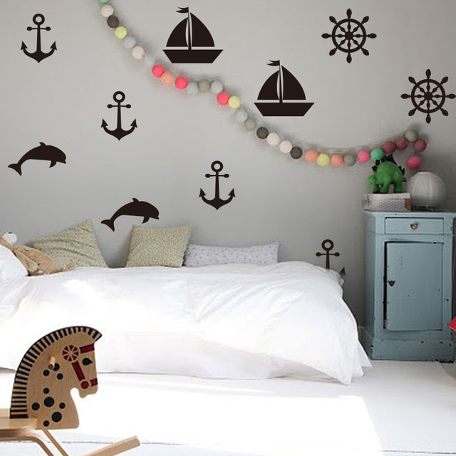 Peachy Us 8 27 9 Off Cartoon Sailboat Anchors Wall Decals Summer Holiday Wall Sticker Diy Children Room Decor Removable Easy Wall Art Cut Vinyl In Wall Download Free Architecture Designs Scobabritishbridgeorg