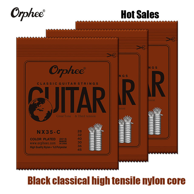 New Orphee 1Set Classic Black Classical Guitar Strings Nylon and Silver Plated Wire Hard Normal Tension 028-045 Wholesales