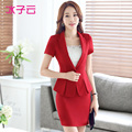 The new women's summer wear short-sleeved Chaoliang rectangular collar suit suit OL curved hem suit