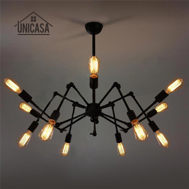где купить Large Antique Pendant Lights Black/White Wrought Iron Lighting Office Bar Kitchen Light Vintage Industrial Pendant Ceiling Lamp по лучшей цене