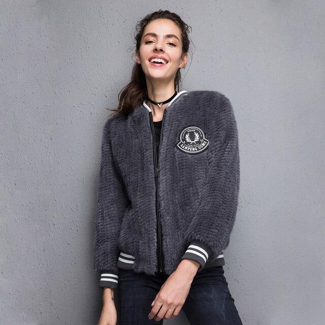 2017 New 100% Real Mink Knitted fur Short Jacket, Natural Mink Fur Coat BE-1708 Free shipping 3