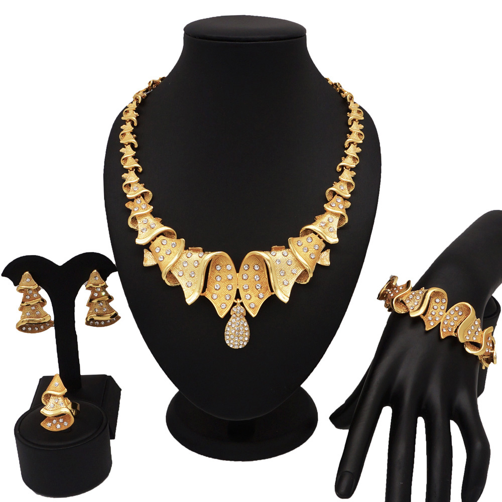 gold jewelry sets wedding jewelry sets african necklace sets gold high quality jewelry gift women necklace bracelet