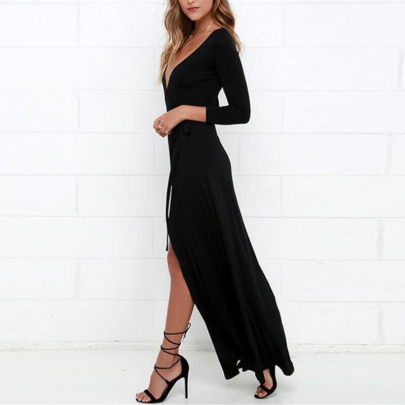 robe noire longue ռոմանտիկ զգեստ boho split Slim sexy - Կանացի հագուստ - Լուսանկար 4