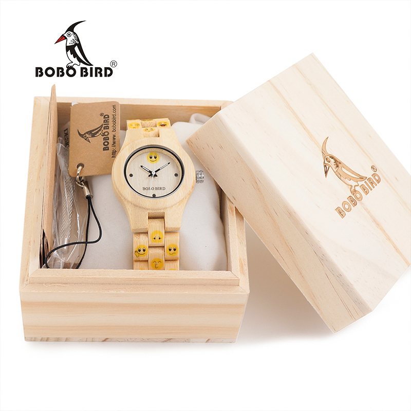 BOBO BIRD CdO06 Emotional Face Women Wooden Watch Yellow Color Designer Clock for Ladies in Gift Box Accept Dropshipping