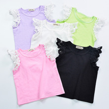 5 Colors Cheap Summer Newborn Baby Girls Cotton Sleeveless Tank Top Vest Tee Lace Baby Clothing 0-2y