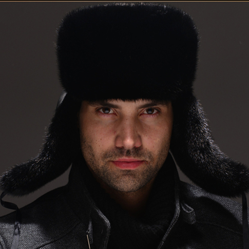 HM032  Real genuine mink  hat  winter Russian men's warm caps whole piece mink  fur hats new autumn winter warm children fur hat women parent child real raccoon hat with two tails mongolia fur hat cute round hat cap