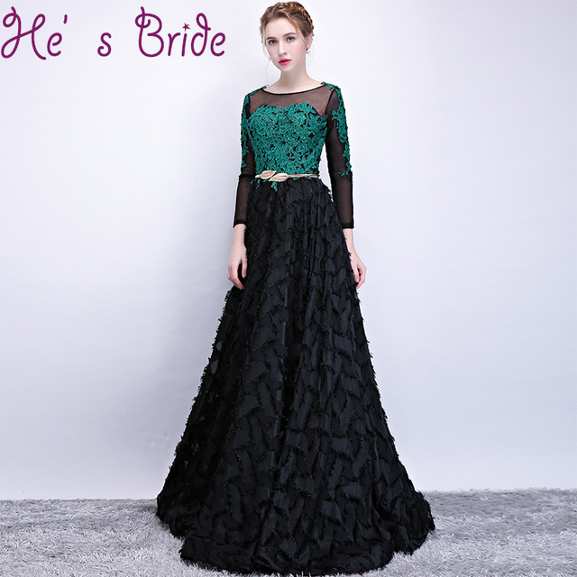 Evening Dress Elegant Black Scoop Neck Long Sleeves Zipper Back A Line  Floor Length Tulle Satin Illusion Party Prom Dress c1605ef78afa