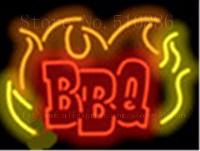 """BBQ Flamme Glasrohr neonzeichen Handcrafted Licht Bar Bier Club Benutzerdefinierte zeichen Shop Business Schild signage 17 """"x 14"""""""