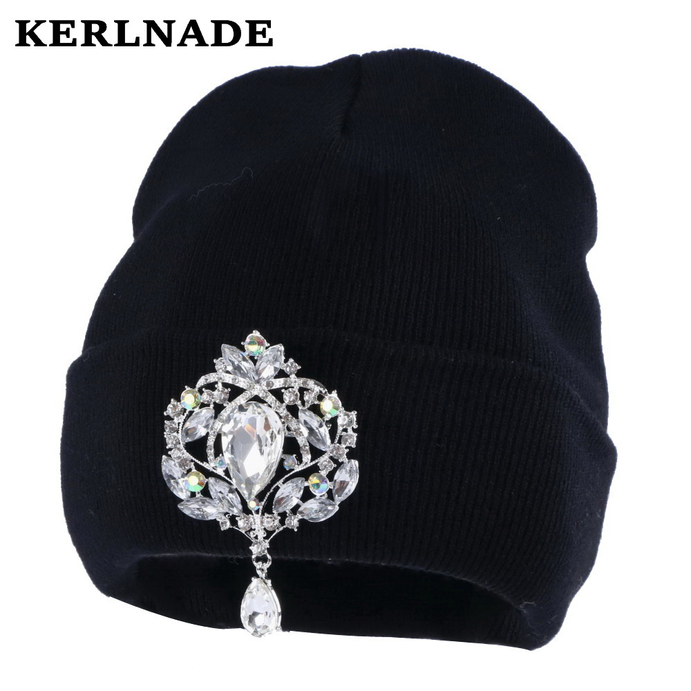 83edb5cf44b Best buy new fashion women beanies winter hat bling crystal floral luxury beanie  girl casual skullies wholesale woman winter hats online cheap