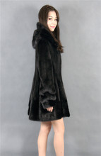 natural mink fur coat black with hood 90cm black 2016 winter woman fashion real mink fur