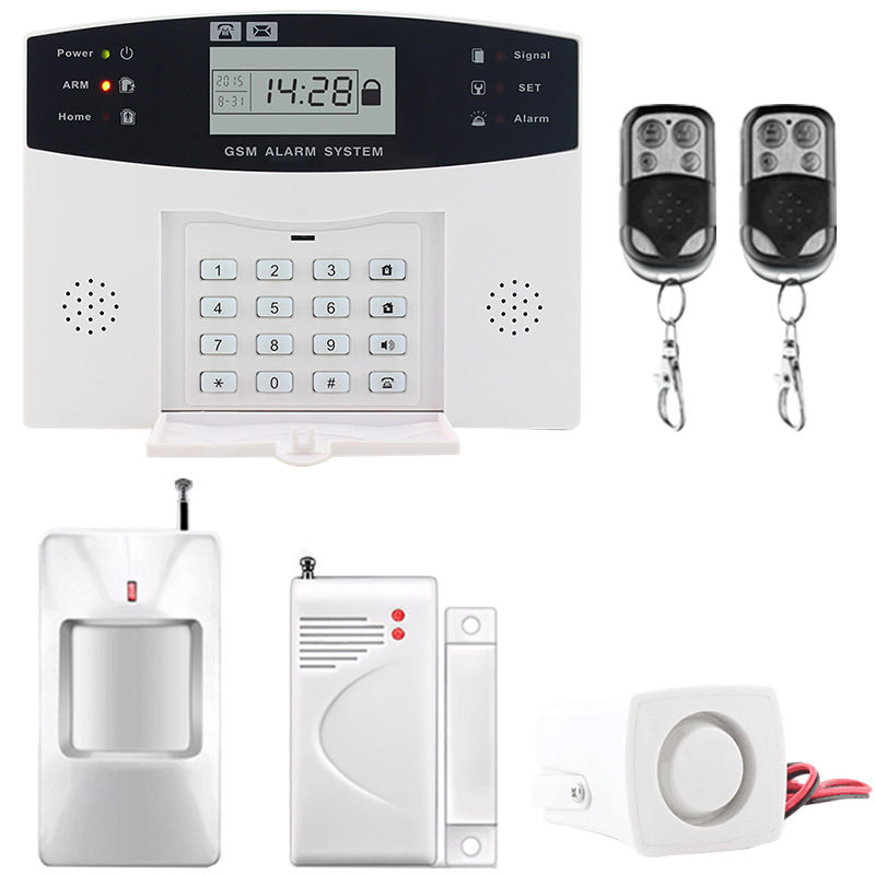Saful LCD Display Home Security Wireless GSM Alarm System SMS and Smoke Sensor Russian/English/Spanish/French voice russian french spanish voice quad band gsm home security alarm system gsm sms intercom lcd display with door security sensor
