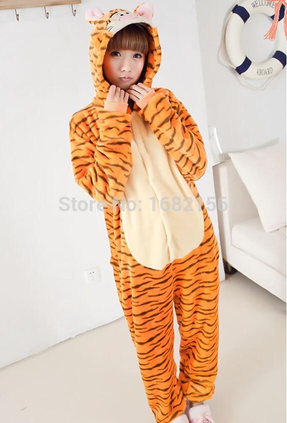 Kigurumi New Flannel Jumping Tiger Pajamas Animal Onesies Adult Unisex Onesie Cosplay -9228