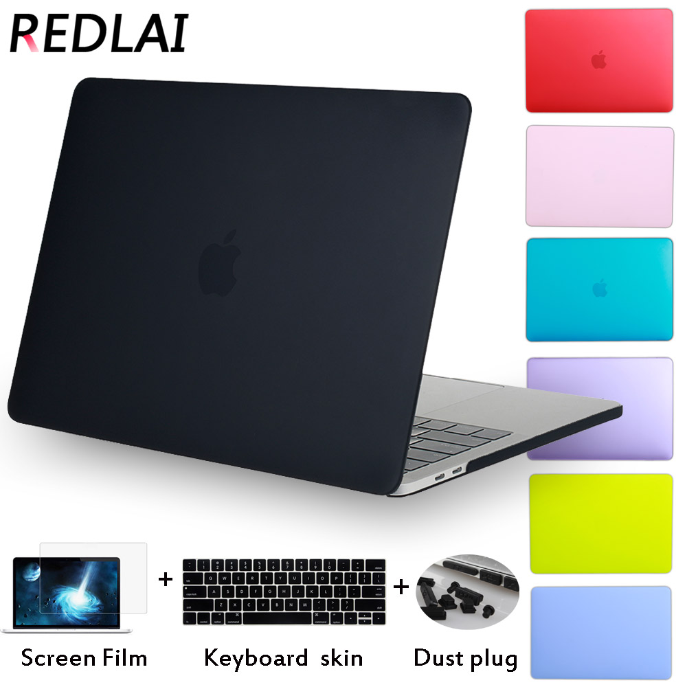 Redlai luxo novo matte case para macbook air 11 13 polegada para mac book pro 13 15 retina toque bar com tampa do teclado + plugue poeira