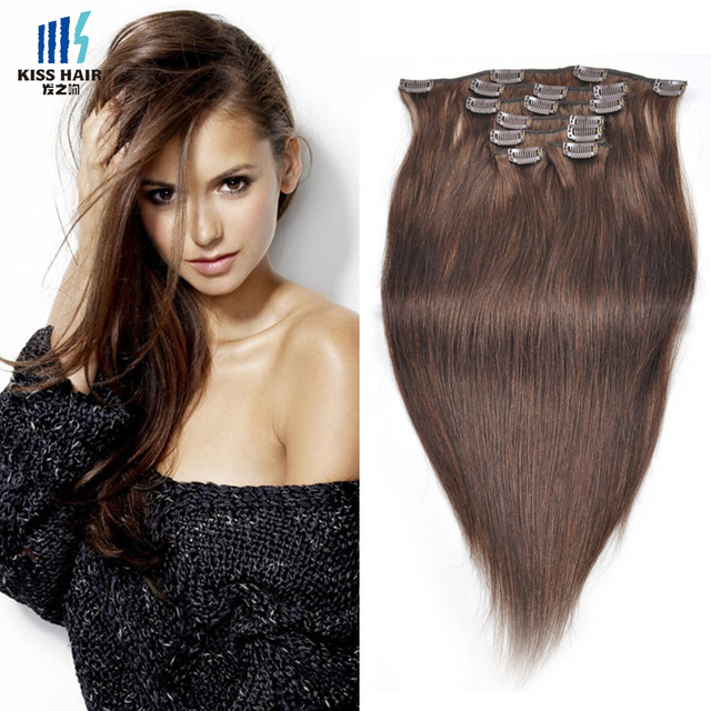 1 Set Clip In Human Hair Extensions Quality Color 2 Dark Brown