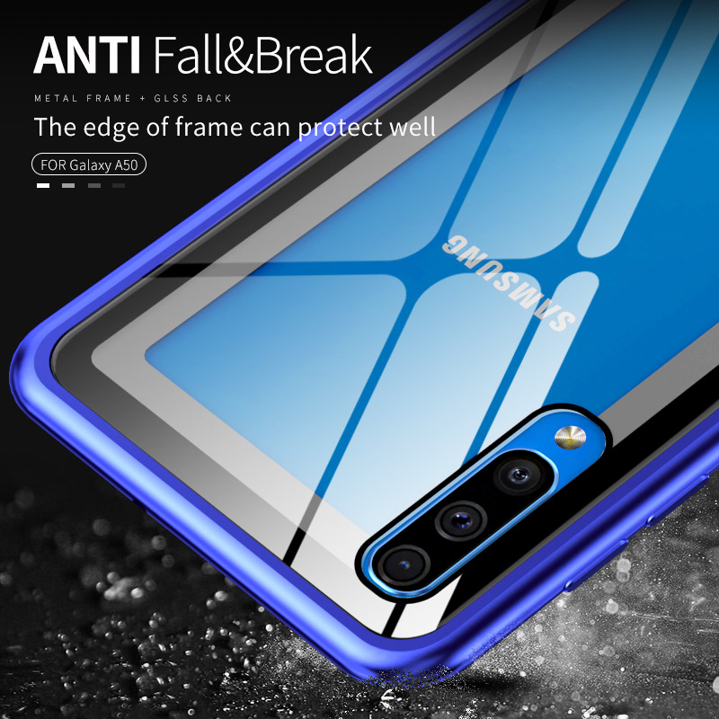 Luxury Aluminum Metal Bumper Phone Case For Samsung Galaxy A50 A40 A30 A10 Case Shockproof Metal Frame Tempered Glass Back Cover in Phone Bumpers from Cellphones Telecommunications