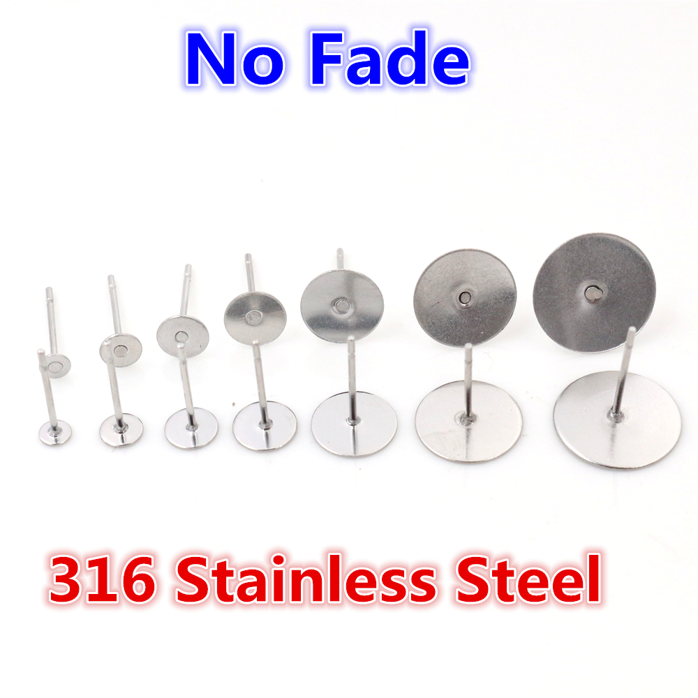 100pcs Stainless Steel Blank Earring Stud Base Fit 3 4 5 6 8 Mm Cabochon Cameo Settings DIY Jewelry Making Accessories Supplies