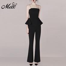 Max Spri 2019 New Women Fashion Two Piece Sets Strap Sleeveless Ruffle Top Long Pant Suits Set  Formal Elegant