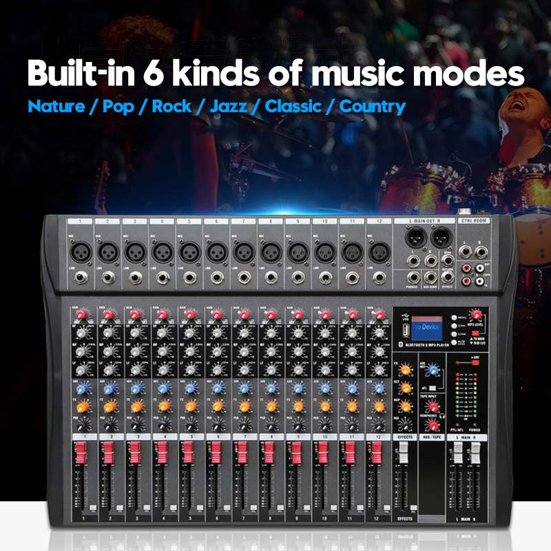 LEORY 12 canaux bluetooth numérique Microphone Console de mixage de son professionnel karaoké Audio mélangeur amplificateur avec USB - 3