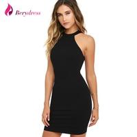 Berydress Elegant Womens Mini Dress Sexy Halter Neck Sleeveless Alluring Back Nightclub Black Lace Bodycon Dresses