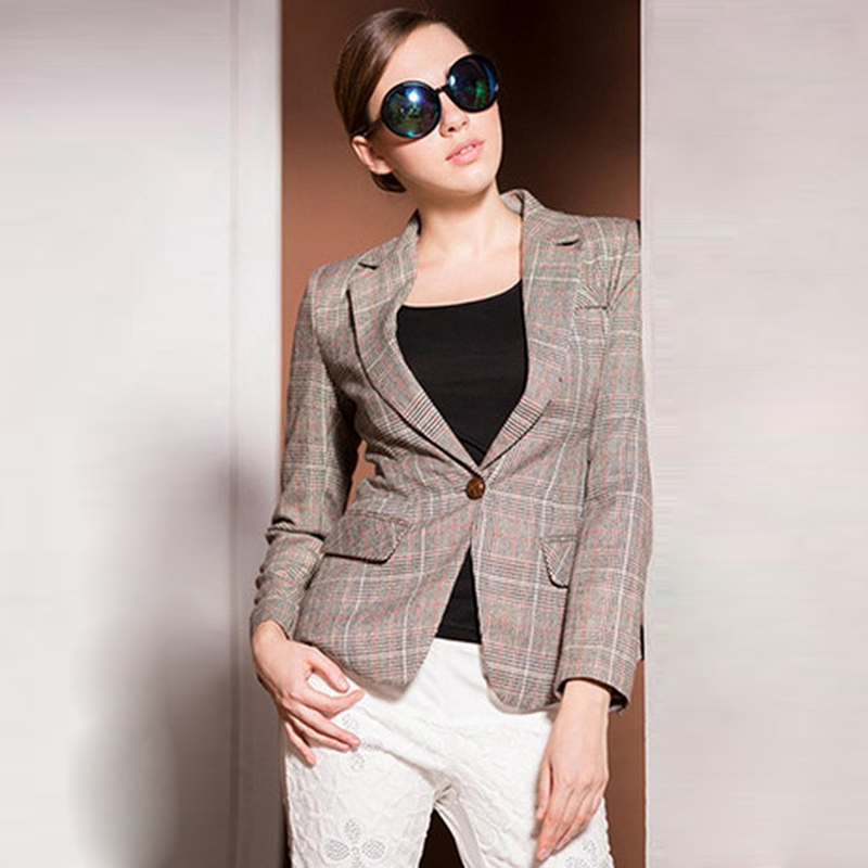 80% Wool Blazers Women Plaid Classic Design Elbow Patch Pockets Single Button Ladies Coat Novelty Design Mujer 2017 New Fashion
