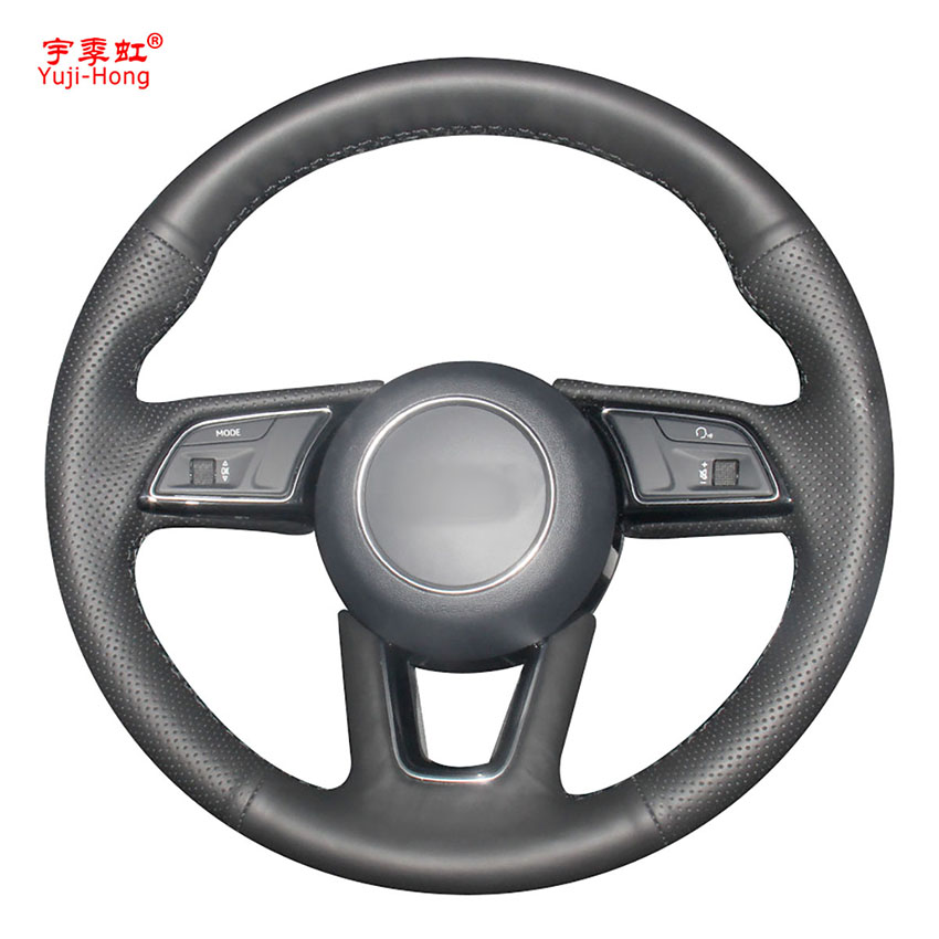 Yuji-Hong Artificial Leather Car Steering Wheel Covers Case for <font><b>Audi</b></font> A4L <font><b>2017</b></font> <font><b>Audi</b></font> <font><b>A5</b></font> <font><b>sportback</b></font> <font><b>2017</b></font> Hand-stitched Black Cover image