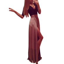 ADW 2017 NEW Women Maxi Dress Lace Top Side Slit Evening Party Prom Gown Coffee